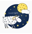 Print with images cute sheep on background night vector