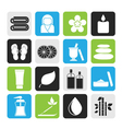 Silhouette spa objects icons vector