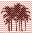 Silhouettes of palm trees on a pink background vector