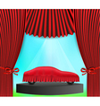 Hidden car and red curtain vector