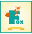 Letter f and fox vector