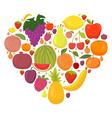 Healthy lifestyle fruit heart vector