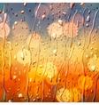 Autumn background view through wet glass vector