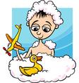 Cute little boy in bath cartoon vector
