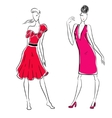 The sketch of women in different poses vector