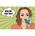 Pop art cute retro woman in comics style chating vector