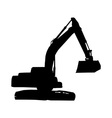 Mechanical digger excavator silhouette vector