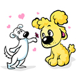 Two dogs in love cartoon vector