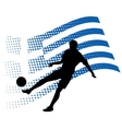 Greece soccer player against national flag vector