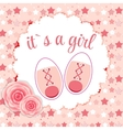 Pink baby shoes for newborn girl vector