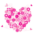 Heart shape flowers vector