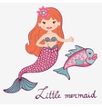 Mermaid and fish vector