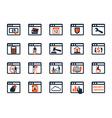 Business icon set software web development finance vector