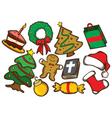 Set of colorful christmas stuff vector