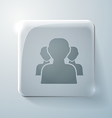 Glass icon silhouette of a men social media vector