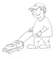 Lawn mower man contours vector