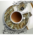 Cup of coffee and floral ornament vector