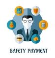 Safety payment flat concept vector
