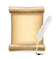 White feather and old scroll vector