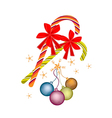 Christmas balls and candy canes with red bow vector