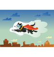 Flying super hero dog in the fly vector