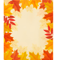 Retro autumn background with colorful leaves vector