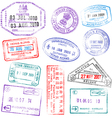 Highly detailed passport stamps vector