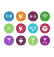 Radio tower circle icons on white background vector
