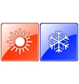 Season buttons with snowflake and sun vector