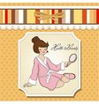 Spa lady who looks into a mirror vector