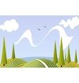 Cartoon summer fields and meadows landscape vector