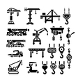 Set icons of crane lifts winches and hooks vector