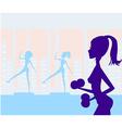Women exercising in gym vector