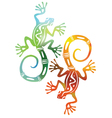 Two decorative colored lizards vector