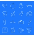 Fitness and gym thin lines icons set vector