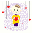 Valentine boy with red heart vector