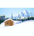 Winter mountain landscape with house vector