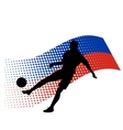 Russia soccer player against national flag vector