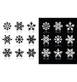 Snowflakes icons with shadow on black and white ba vector