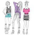 Young fashion girls vector
