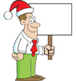 Cartoon man wearing a santa hat and holding a sign vector
