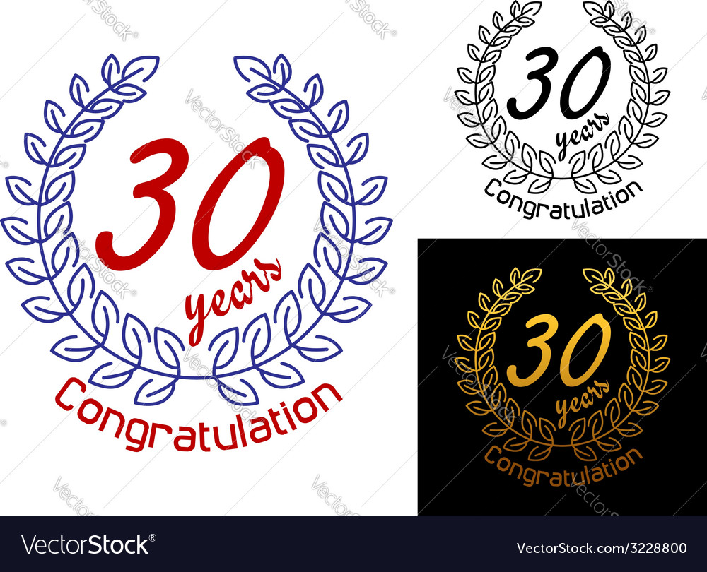 30 years anniversary congratulations badges vector | Price: 1 Credit (USD $1)