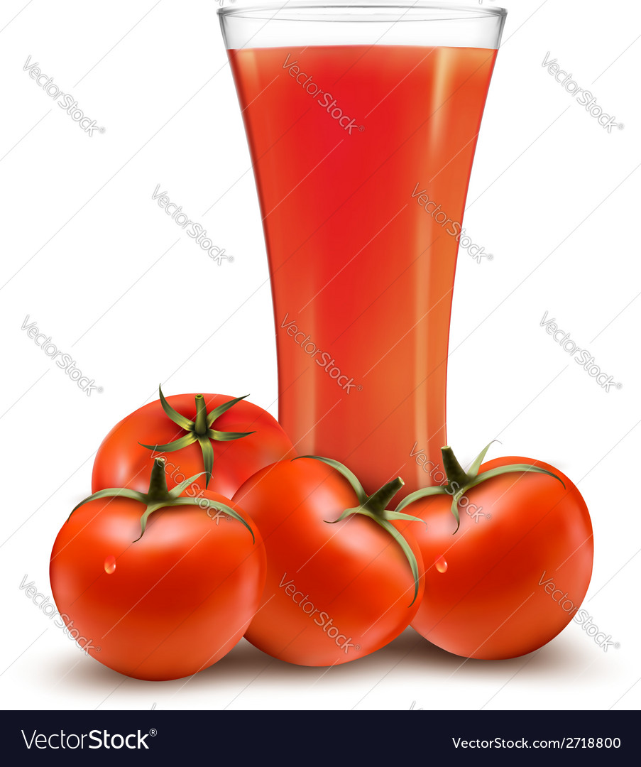 A glass of tomato juice and some ripe tomatoes vector | Price: 1 Credit (USD $1)