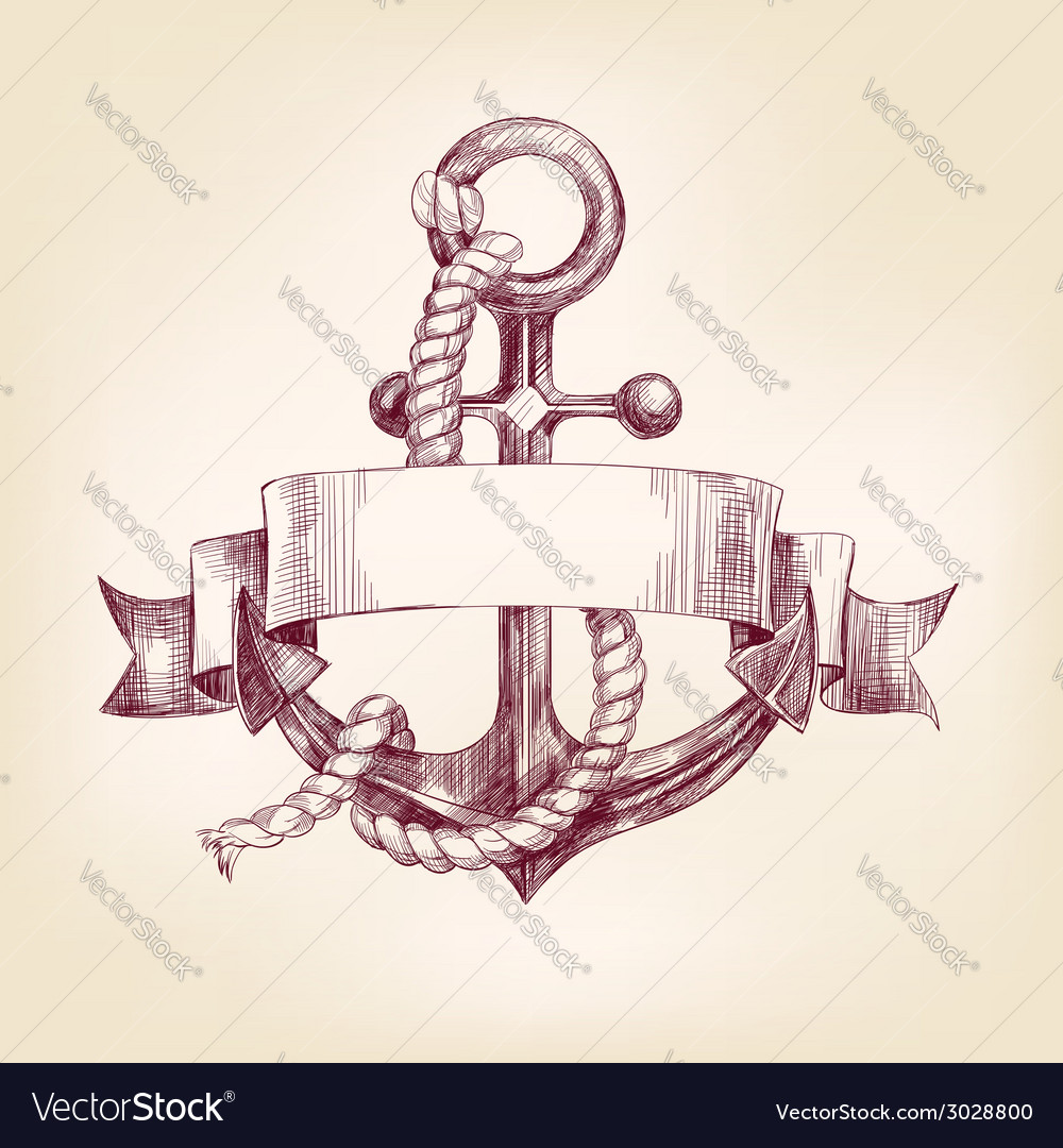 Anchor with a banner hand drawn llustration vector | Price: 1 Credit (USD $1)