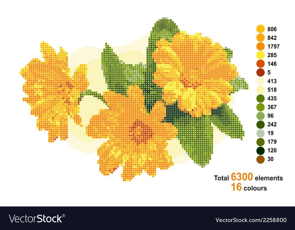Bouquet with calendula the scheme for beadwork or vector | Price: 1 Credit (USD $1)