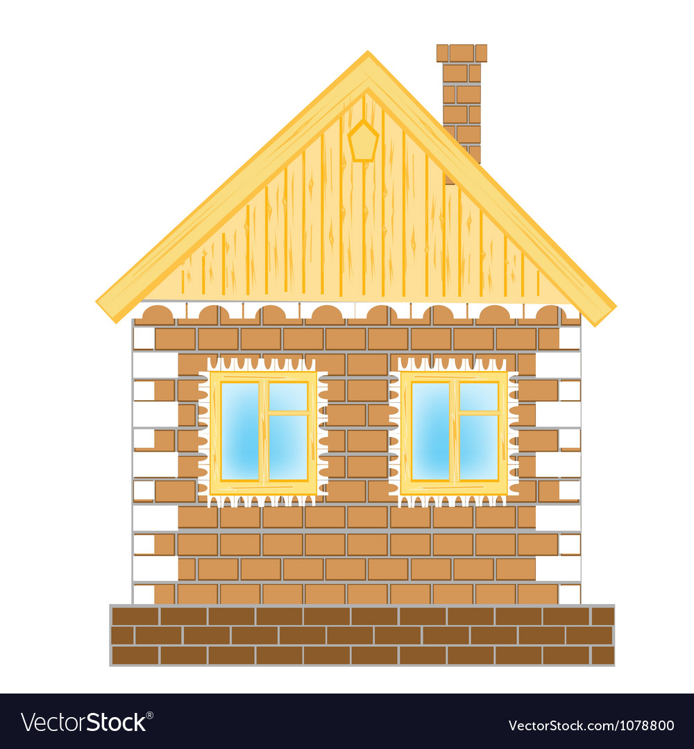 Brick house on white background vector | Price: 1 Credit (USD $1)