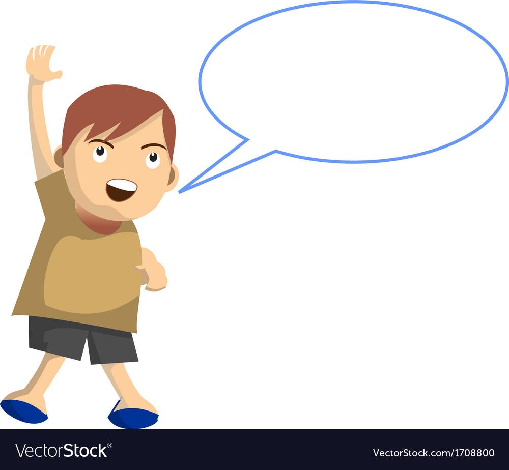 Cartoon boy jumps while speak with speech balloon vector   Price: 1 Credit (USD $1)