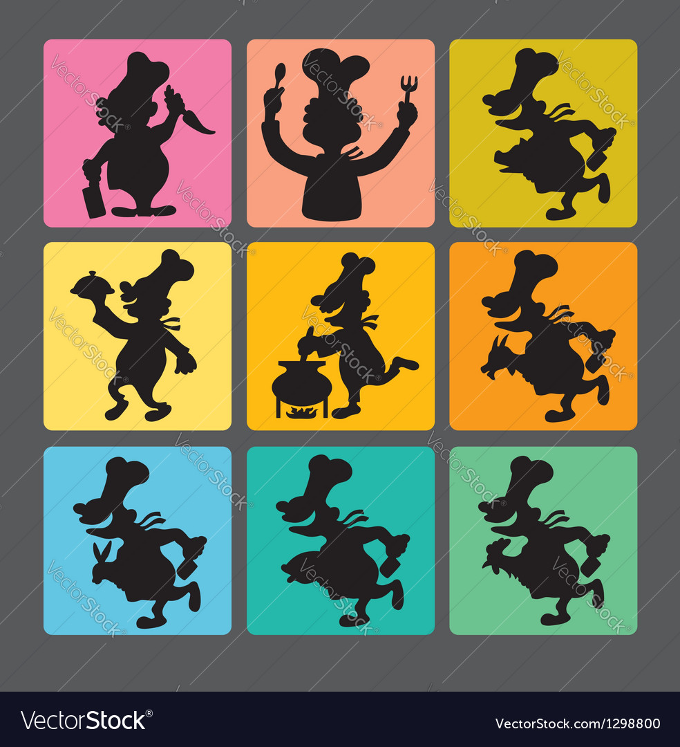 Chef silhouette symbols 1 vector | Price: 1 Credit (USD $1)