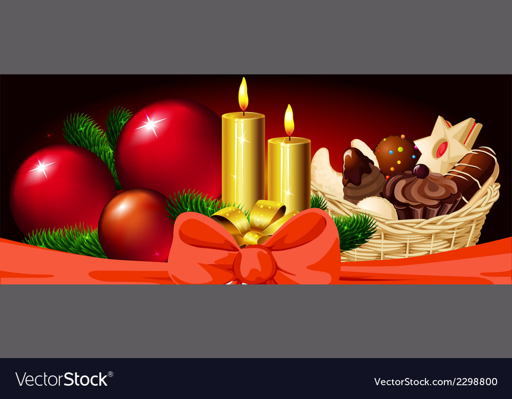 Christmas horizontal design with candle xmas ball vector | Price: 1 Credit (USD $1)