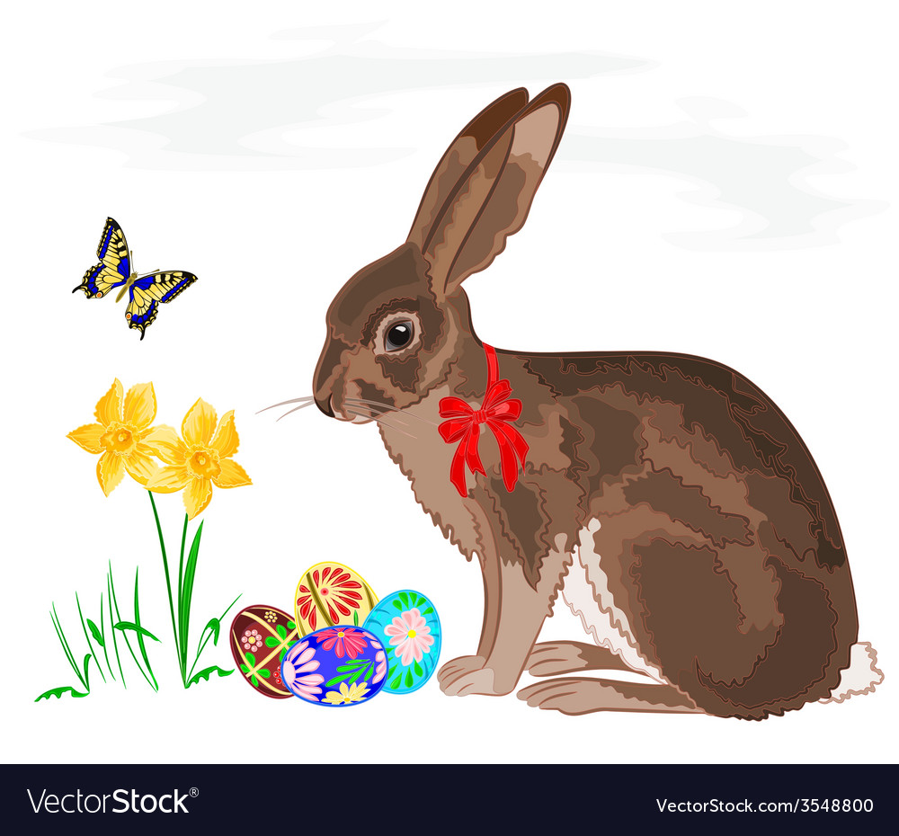 Easter little bunny with daffodils and butterflies vector | Price: 1 Credit (USD $1)